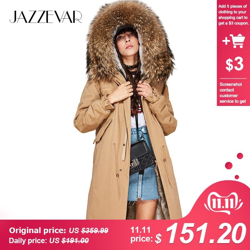 Jazzevar 2019 nova moda feminina x-long parka grande real racoon pele casaco com capuz outwear cor natural militar jaqueta de inverno