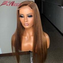 Wicca 13x4 парик на кружеве#6 цветов Омбре человеческие волосы парики предварительно сорванный бразильский Remy с детскими волосами прямые парики для женщин