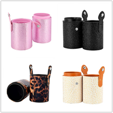 PU Leather Makeup Brush Storage Bucket Travel Make up Brush Holder Storage Empty Frame Cosmetic Cup Case Empty Storage Box Bag цены