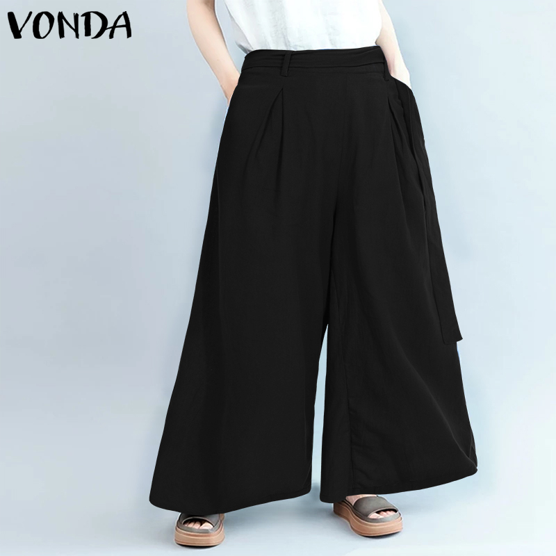Solid Color   Pants   2019 Women Casual Loose   Wide     Leg     Pants   VONDA Office Ladies Pantalon Party Overalls Women's Trousers Plus Size