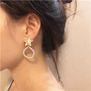 AOMU-Korean-Earring-Geometric-Round-Pearl-Drop-Earring-For-Women-Metal-Pentagonal-Star-Earring-S925-Sterling