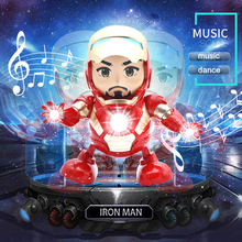 Hot Toys Restored Dancing Iron Man Robot Plastic Electric Dancing Light Music Movable Human Form Hand Model Gift For Children inflatable sky dancing tube man ghost chef outdoor waving air dancing man for advertising celebration without fan blower