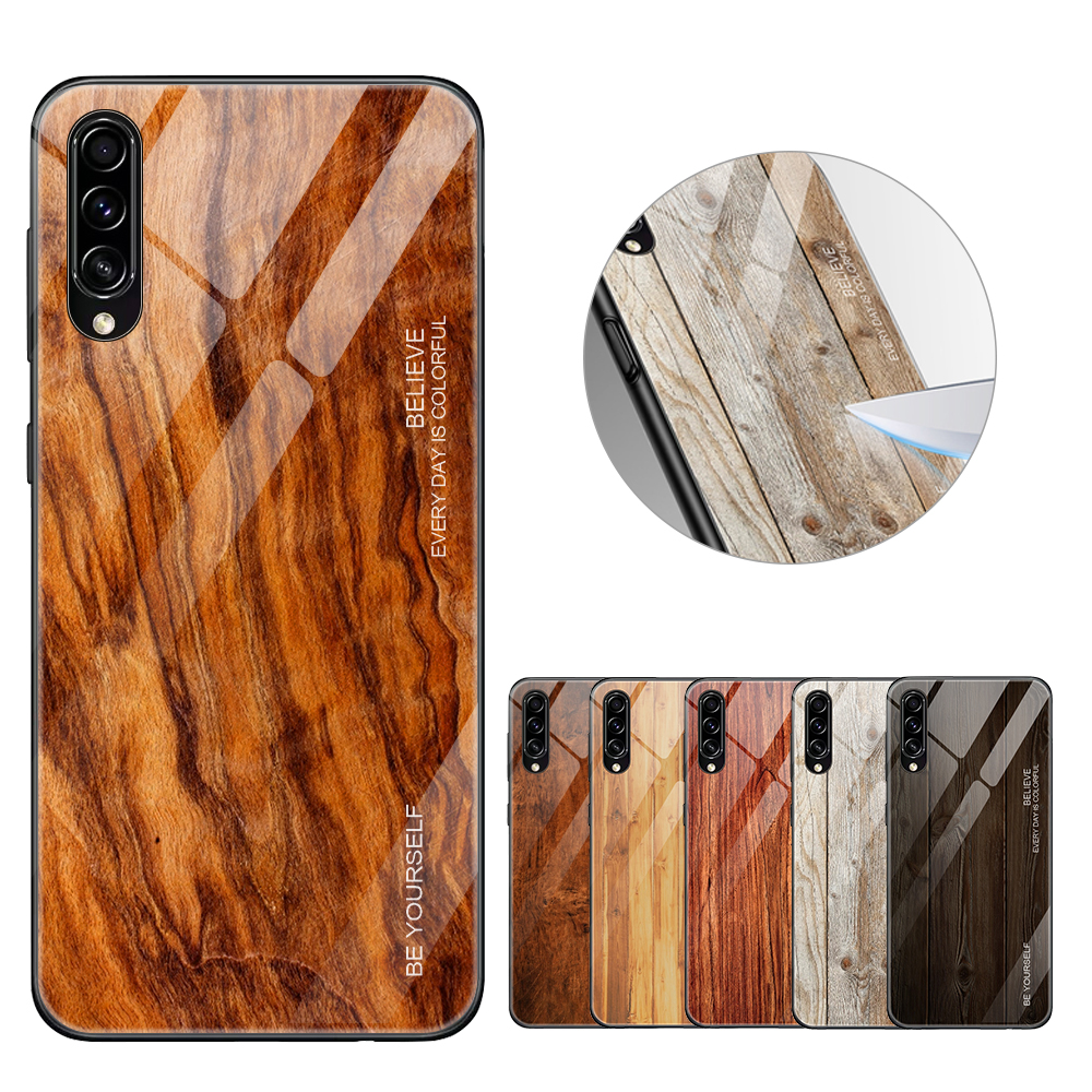 <font><b>Wood</b></font> Grain Painted <font><b>Case</b></font> For <font><b>Samsung</b></font> <font><b>Galaxy</b></font> A50 A30 <font><b>A40</b></font> A20 A10 <font><b>Case</b></font> Tempered Glass Cover on A 50 30 40 20 A30S A50S A51 A71 <font><b>Case</b></font> image