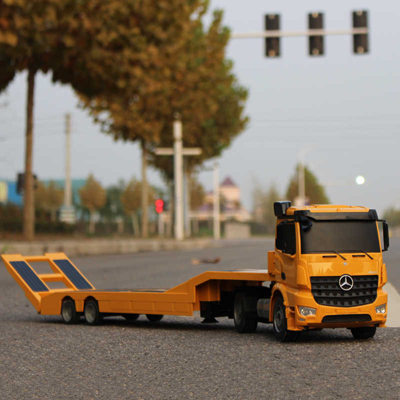RCรถบรรทุกFlatbed Semi-Trailer 1:20 2.4Gควบคุมรถแทรกเตอร์ก่อสร้างDiecastรุ่นเด็กอิเล็กทรอนิกส์ของเล่น