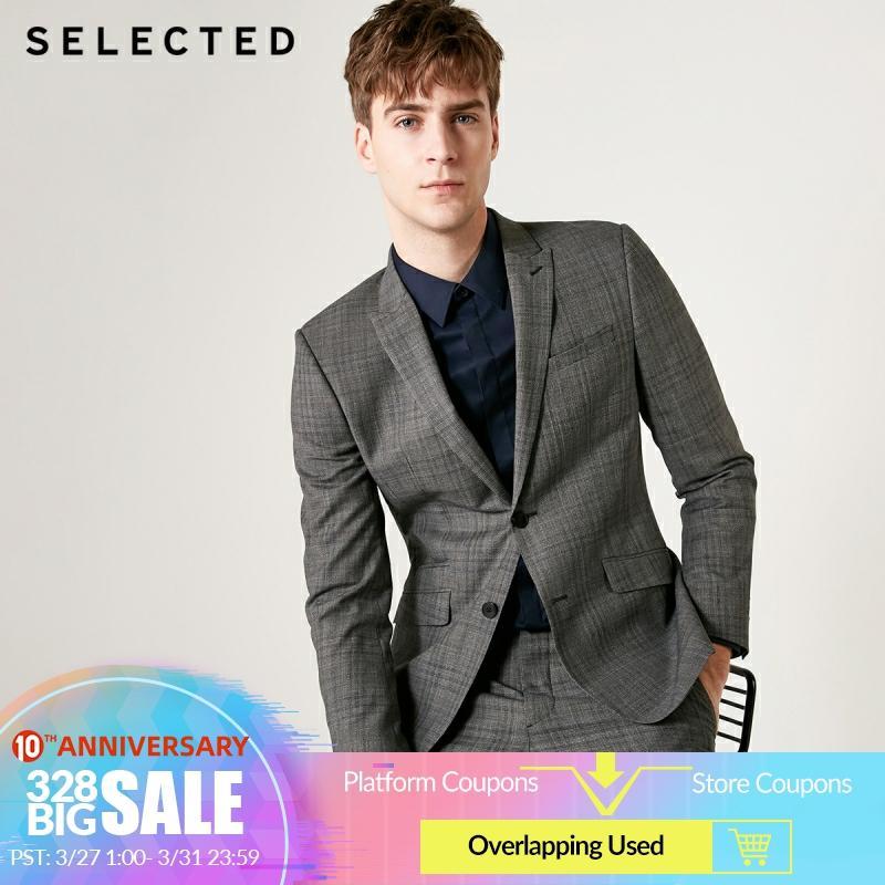 SELECTED Men's Regular Fit Blazer 100% Wool Plaid  Jacket Clothes T|41925Z501
