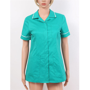 Image 2 - Womens Healthcare Tunic Turn down Collar Short Sleeves Button Down Cares Therapist Dentist Workwear Uniform Tops
