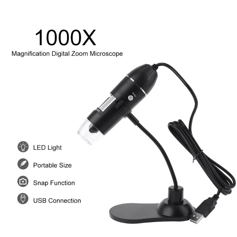 USB Digital Microscope 8 LED 1000X Electronic Endoscope Zoom Camera Magnifier Protable With Stand Holder For Windows Mac