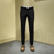 men long formal pants young man black jacquard suit pants office trousers mens dress pants slim dress pant for men plus size 36