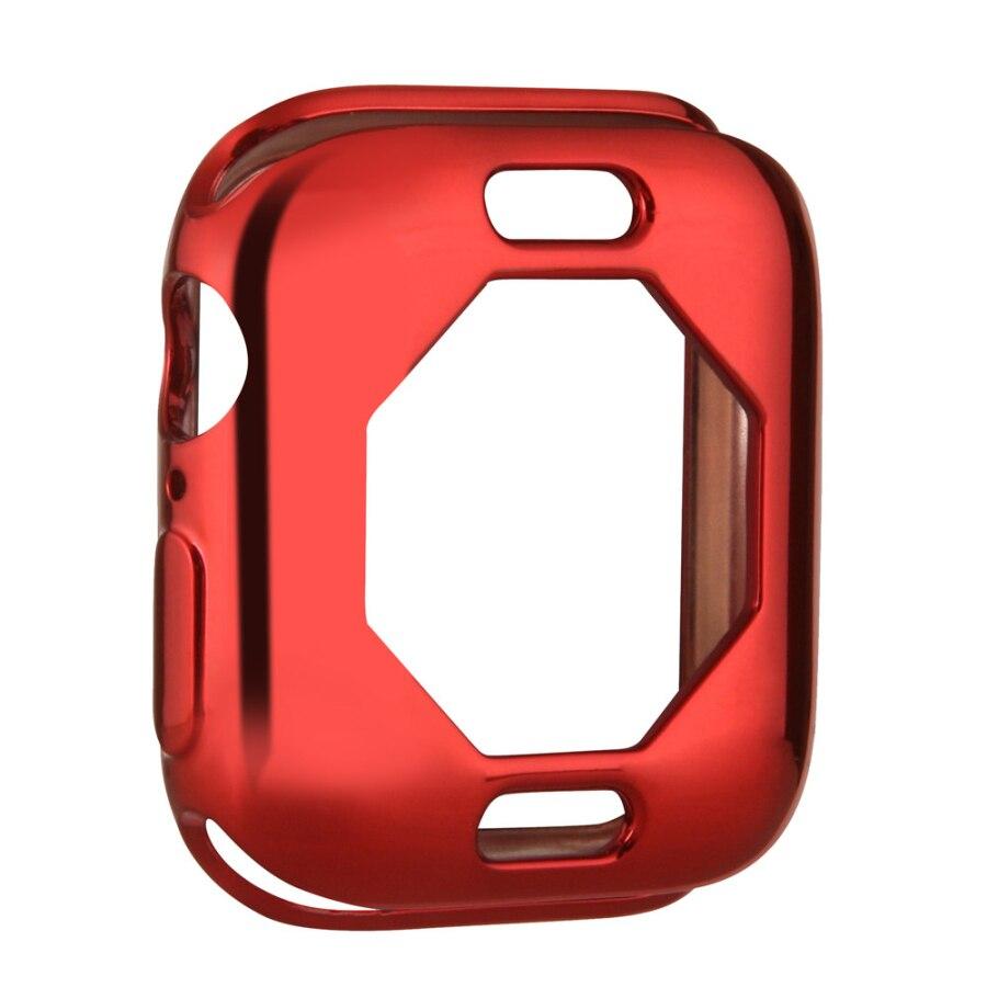 Чехол s для Apple Watch, 44 мм, 40 мм, серия 5, чехол с покрытием, TPU, мягкая защитная оболочка, защитная рамка для iWatch, 4 полосы, бампер - Цвет: Красный