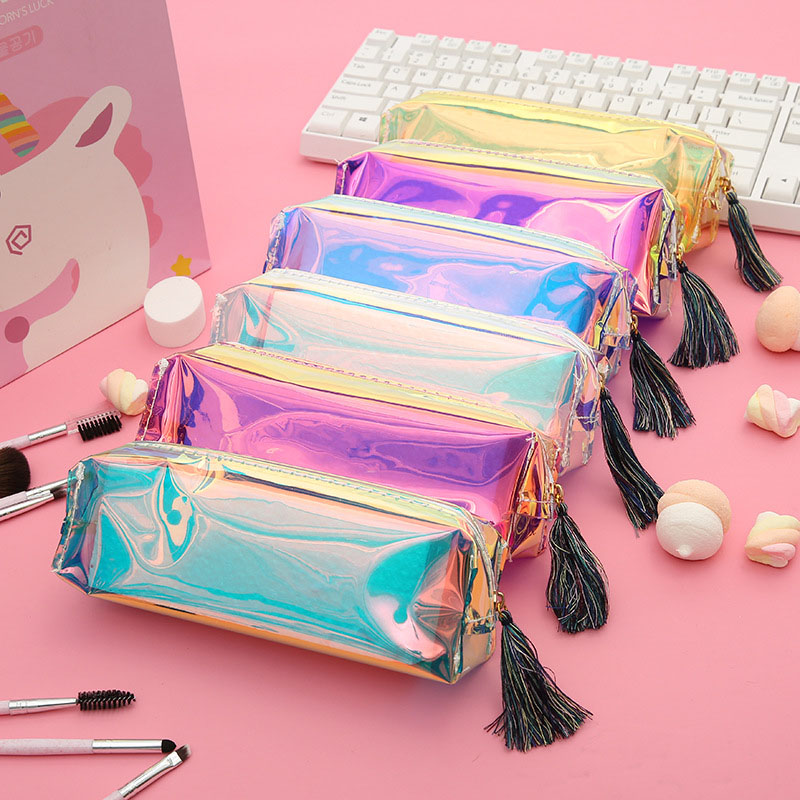 1PC Kawaii Transparent Pen Case Creative Laser Pencil Case Cute Colored Pencil Bag For Kids Gift School Supplies Pencilpouch