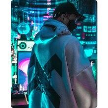 Roupas femininas/masculinas harajuku streetwear reflexão laser funcional astronauta moletom solto com capuz de pelúcia hoodies grandes dimensões
