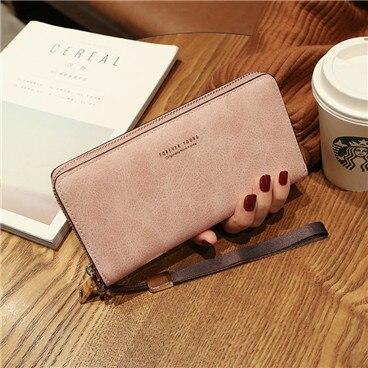 Женский кошелек, сумка для мобильного телефона, фирменный дизайн, Женский кошелек из искусственной кожи, длинные женские кошельки и кошельки, женский тонкий держатель для карт, кошелек - Цвет: pink