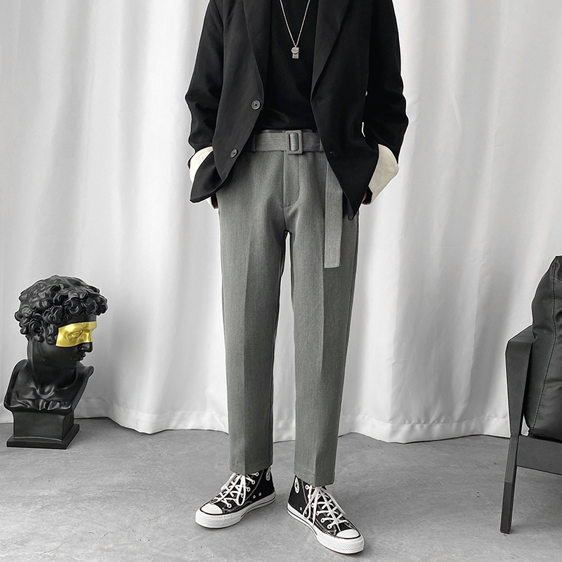 2020 Men's Leisure Casual Pants Striped Trousers Business Design Cotton Formal Suit Skinny Pants Bound Feet Pants Size M-2XL
