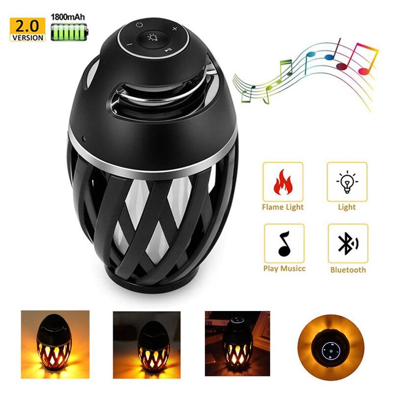 Wireless Bluetooth Speaker LED Flame Light Speaker Portable Loudspeaker Outdoor Player with LED Flame Torch Light Flicker Light