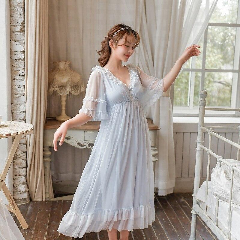 Summer Modal Short Sleeve Women's Long Nightgowns Gauze Vintage Lace Princess Night Dress V-Neck Sexy Nightwear Muliti Color