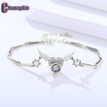 Authentic S925 Sterling Silver Angel Wings Language Projection Bracelet Female Korean Heart-shaped Jewelry