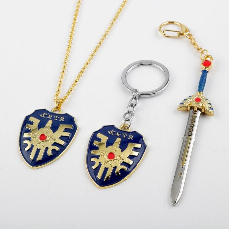 RPG Game Dragon Quest Warrior Kuesuto Keychain Keyring Metal Sword Shield Of Road Key Chain Holder Men Women Choker Necklace