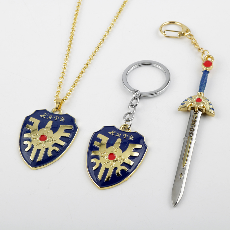 RPG Game Dragon Quest Warrior Kuesuto Keychain Keyring Metal Sword Shield Of Road Key Chain Holder Men Women Choker Necklace image