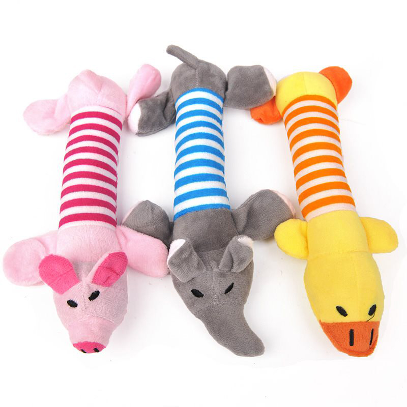 1PC Squeak Chew Dog Toys Sound Dolls Dog Cat Fleece Pet Funny Plush Toys Elephant Duck Pig Fit for All Pets