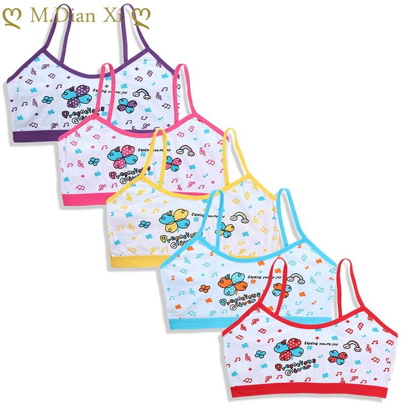 4 pçs/lote meninas treinamento sutiãs jovem sutiã de algodão adolescente roupa interior para crianças verão adolescentes puberdade roupa interior para meninas