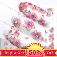 YWK 1 feuille rose fleur transfert d'eau curseur pour manucure Nail Art décoration autocollant à ongles