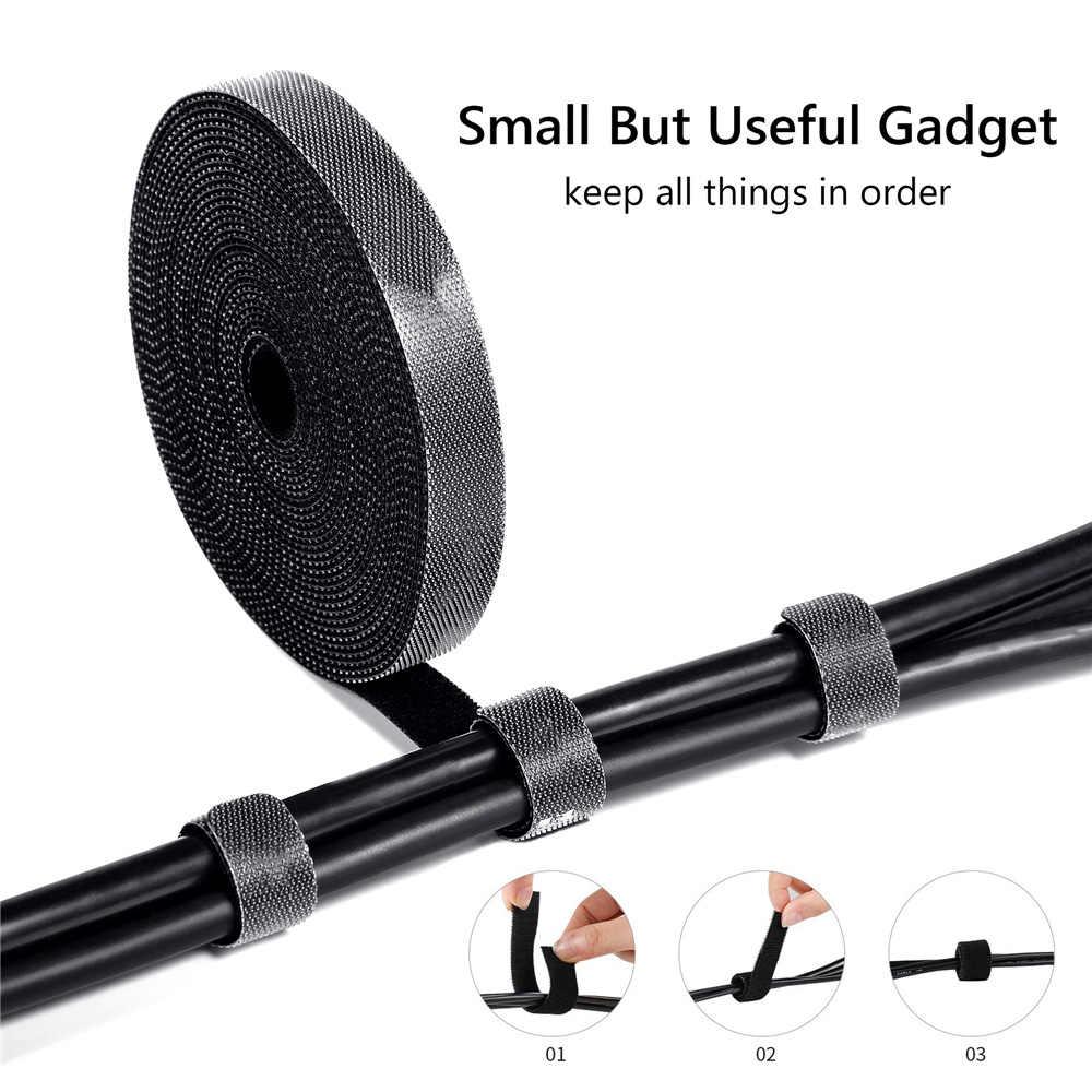 1 Uds sujetacables de nylon USB Cable titular Protector organizador cuerda bobinadora Correa auricular ratón gestión de cables para el hogar Oficina