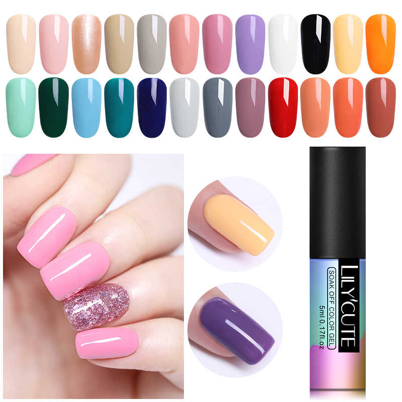 Lilycute 5 Ml Gel Nagellak Losweken Uv Gel Semi Permanente Losweken Uv Gel Vernis Langdurige Grey koffie Nail Art Polish