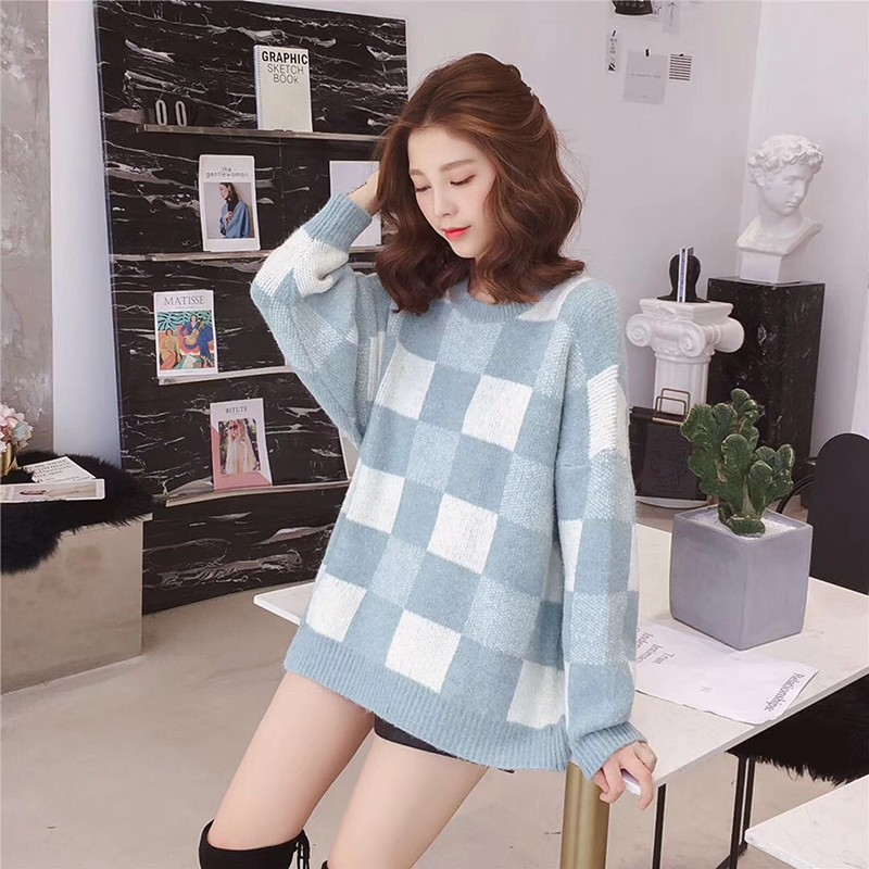 2019 New O-Neck Sweet Knitted Sweater Women Harajuku Loose Long Pullover Pull Sweaters Femme jersey mujer Kawaii Jumper