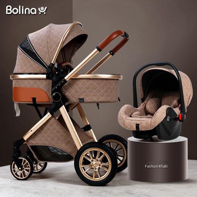 Bolina 3 em 1 carrinho de bebê alta paisagem luz carrinho de bebê recém-nascido choque prova em dois sentidos 2 em 1 criança carro conforto do bebê 2021 1