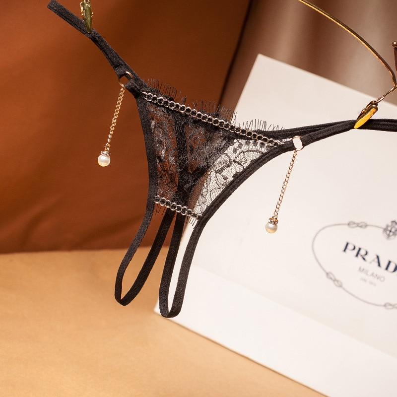 M/L/XL Plus Size Lace   Panties   Women Sexy Lingerie Erotic Underwear Open Crotch Thongs For Sex Transparent Briefs With Pendant