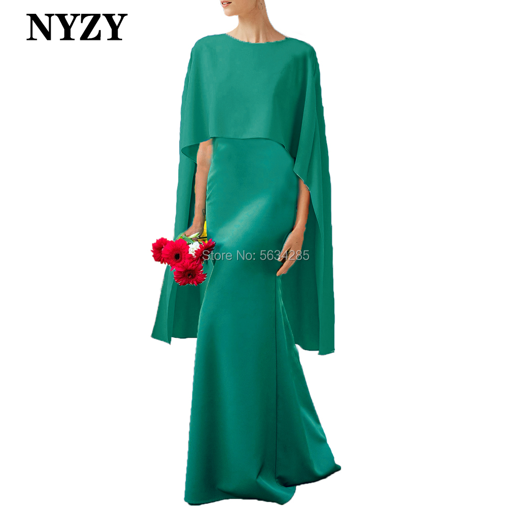 Elegant Cape Sleeves Green Jersey Long Mother Of The Bride Dresses 2020 NYZY M274A Formal Dress Wedding Party Guest Wear