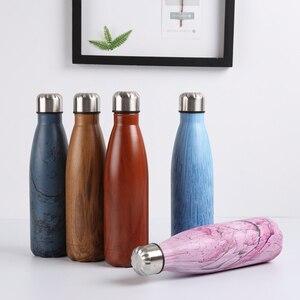 Image 3 - Bouteille deau en acier inoxydable flacon isolé sous vide Sport thermique froide chaude tasse créative tasse en marbre tête tasse 500ML