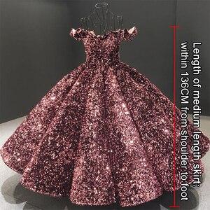 Image 3 - فستان سهرة فاخر وردي مكشوف الأكتاف من Dubai Bean 2020 مزين بالترتر المتألق بطول الكاحل فستان رسمي Serene Hill HA2093