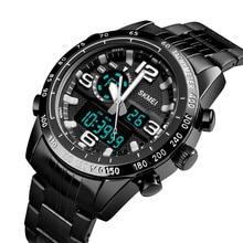 Stal nierdzewna męski cyfrowy zegarek Top marka SKMEI mężczyźni zegarki wskaźnik i cyfrowy zegarek chronograf budzik zegarek mężczyzn