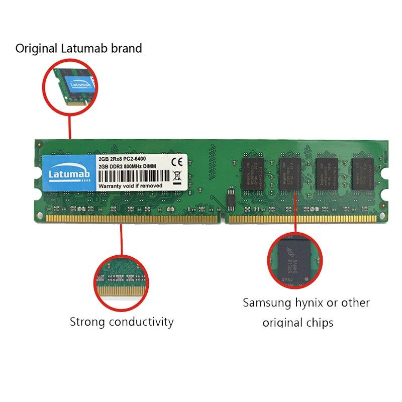 Купить с кэшбэком Latumab 2GB 4GB DDR2 800mhz PC2 6400 Desktop Memory Dimm Memory Ram 240 Pins 1.8V Desktop PC Memory RAM Memory Module
