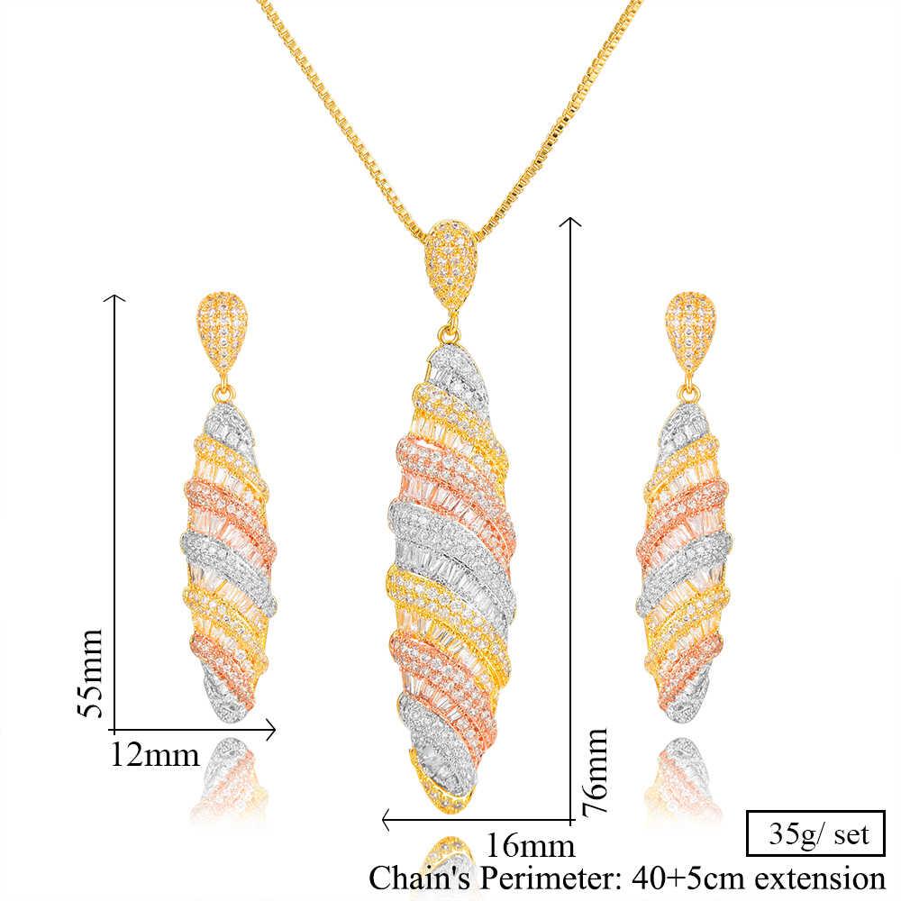GODKI Luxus 2 PCS Schmuck Set Dicke kette DUBAI Baumeln Halskette Ohrringe für Frauen Braut Hochzeit Party Zeigen Shiny Schmuck sets