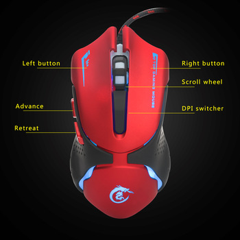 Professional Gaming Mouse Wired Computer Mouse 3200 DPI 6 Buttons Four Speed Fast Mouse Ergonomic Optical Mouse for Laptop Pc 6