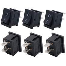 Uds negro botón Mini interruptor de 6A-10A 250V KCD1-101 2Pin Snap-en/OFF interruptor basculante 21*15MM de interruptores de botón