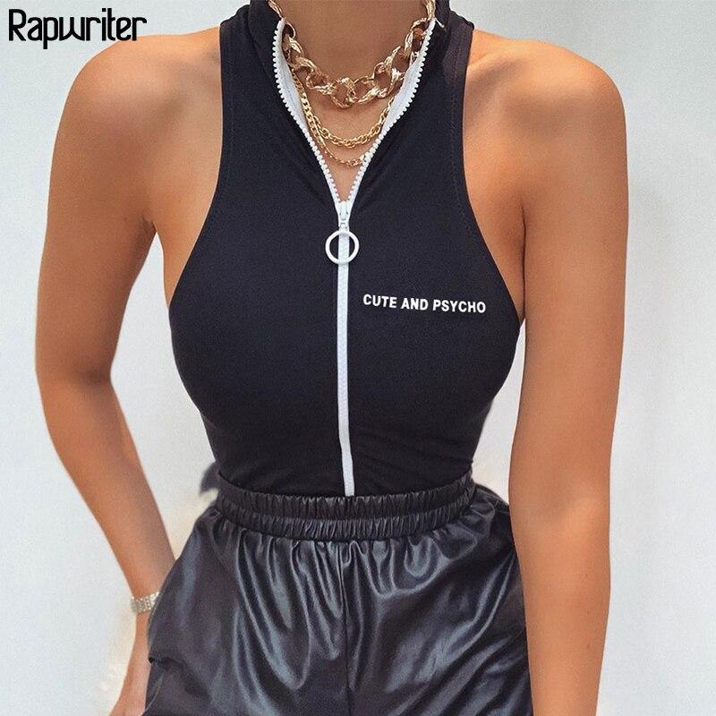 Rapwriter Streetwear Off Shoulder Zipper Skinny Tank Bodysuit Women 2020 Summer High Neck Body Letter Bodycon Black Body Tops