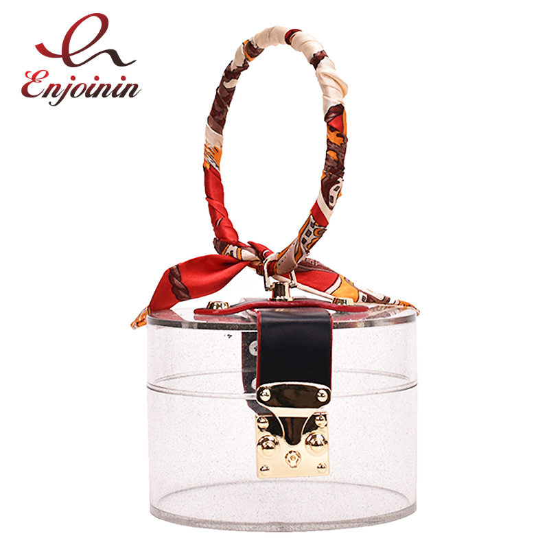Colorful Transparent Metal Ring Handle Women Party Purses And Handbags Scarf Clutch Bag Evening Bag Ladies Tote Bag Designer Bag