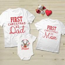 """футболка """"Мама"""", детский комбинезончик, папы и детей, так и для малышей и детей постарше 1st рождественские Семейные комплекты одежды, одежда для мамы,1 шт. First Christmas для папы"""