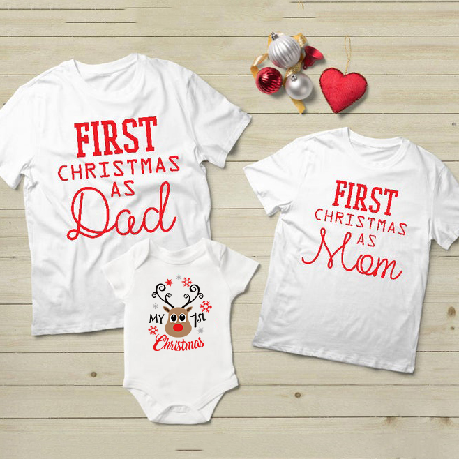 1pcs First Christmas Dad&mom Tshirt Baby Cotton Romper Mommy Daddy And Baby Kids 1st Christmas Family Matching Clothes Outfit
