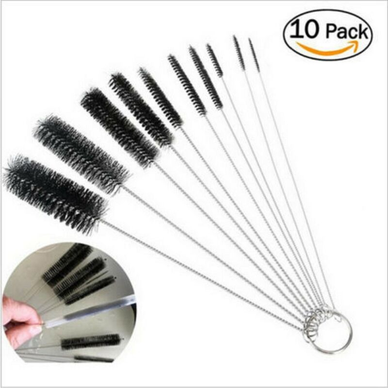 10PCS Bottle Brush Straw Cleaner Glass Tube Pipe Cleaning Long Handle Tool Set