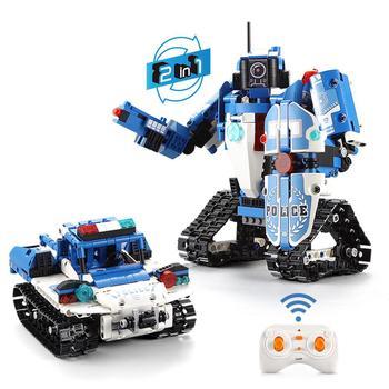 None Remote Control Robot Police Car Building Block Boy Toy Set