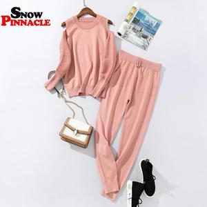 Image 4 - 2020 Fashion Women sweater customes sets Spring Autumn 100% Cotton thick soft long pant knitted sets Casual 2PCS Track Suits