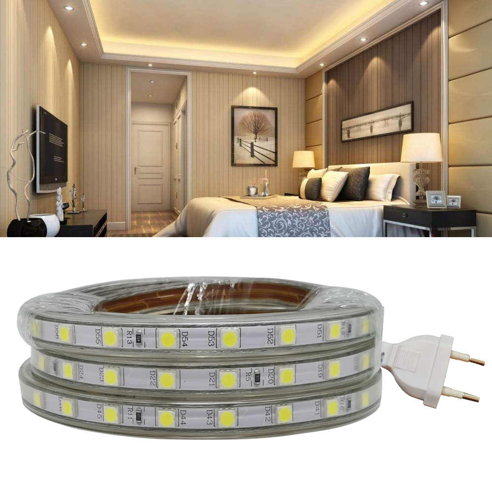 220 V SMD 5050 LED Lampu Strip 220 V Steker Listrik Putih Hangat Putih 60 LED/M 300led Tahan Air IP67 Strip LED