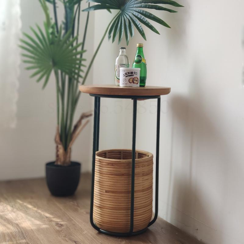 Small Apartment Wrought Iron Japanese Style Simple Style Side Table Cork Bamboo Storage Basket Side Table Coffee Table