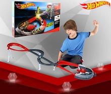 Roundabout Track Builder ruedas de coche calientes para niños, modelos de juguete, Juguetes clásicos, regalo de cumpleaños, Hot Wheels, X2589