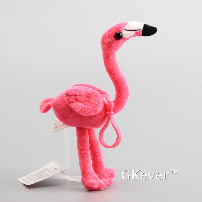 18 Cm Cute Flamingo Keychain Pendant Stuffed Wildlife Animal Bird Dolls Women Kids Birthday Party Gift