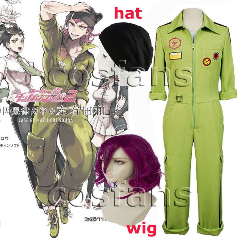 Anime cosplay Super DanganRonpa2 Kazuichi Souda Cosplay Costumes Full Set Outfit Men Women Jumpsuit Halloween Party costumes Wig